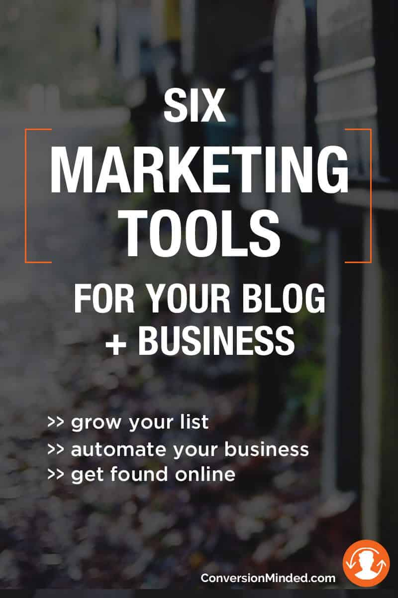 6 Marketing Tools for Your Blog + Business | Struggling with how to get started building your email list? This post was created with you in mind and shows you six essential tools to automate your list building. Click through for all the tools!