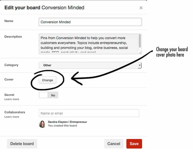 Where to change your Pinterest board cover photo