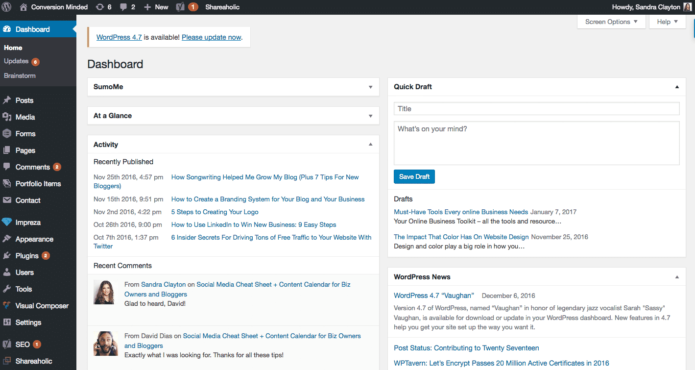 How to Start a Blog With WordPress: Step 5. Site Dashboard